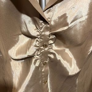 1c9b9cf12 Blue Diamond Plus Tops | Gold Satin Button Up Blouse Fitted | Poshmark